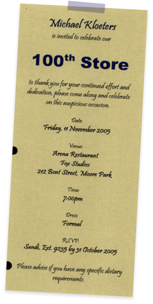 Invitation to celebrate the 100th store opening