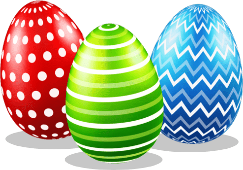 Image of three easter eggs