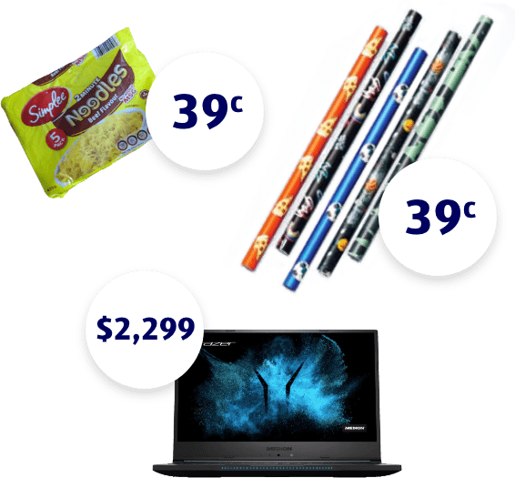Image of packet of noodles 39c, book adhesive 39c and a notebook computer $2299