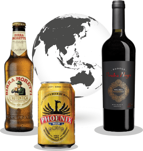 Bottle of beer, can of beer and bottle of wine in front of a world graphic