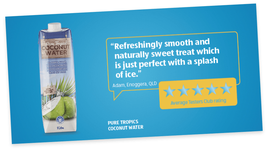 ALDI tester club rating of Pure Tropics coconut water